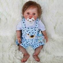 40cm all silicone Baby Doll 100% non-toxic Vinyl Super realistic big eyes bebe reborn Bonecas toy girls children Holiday gift