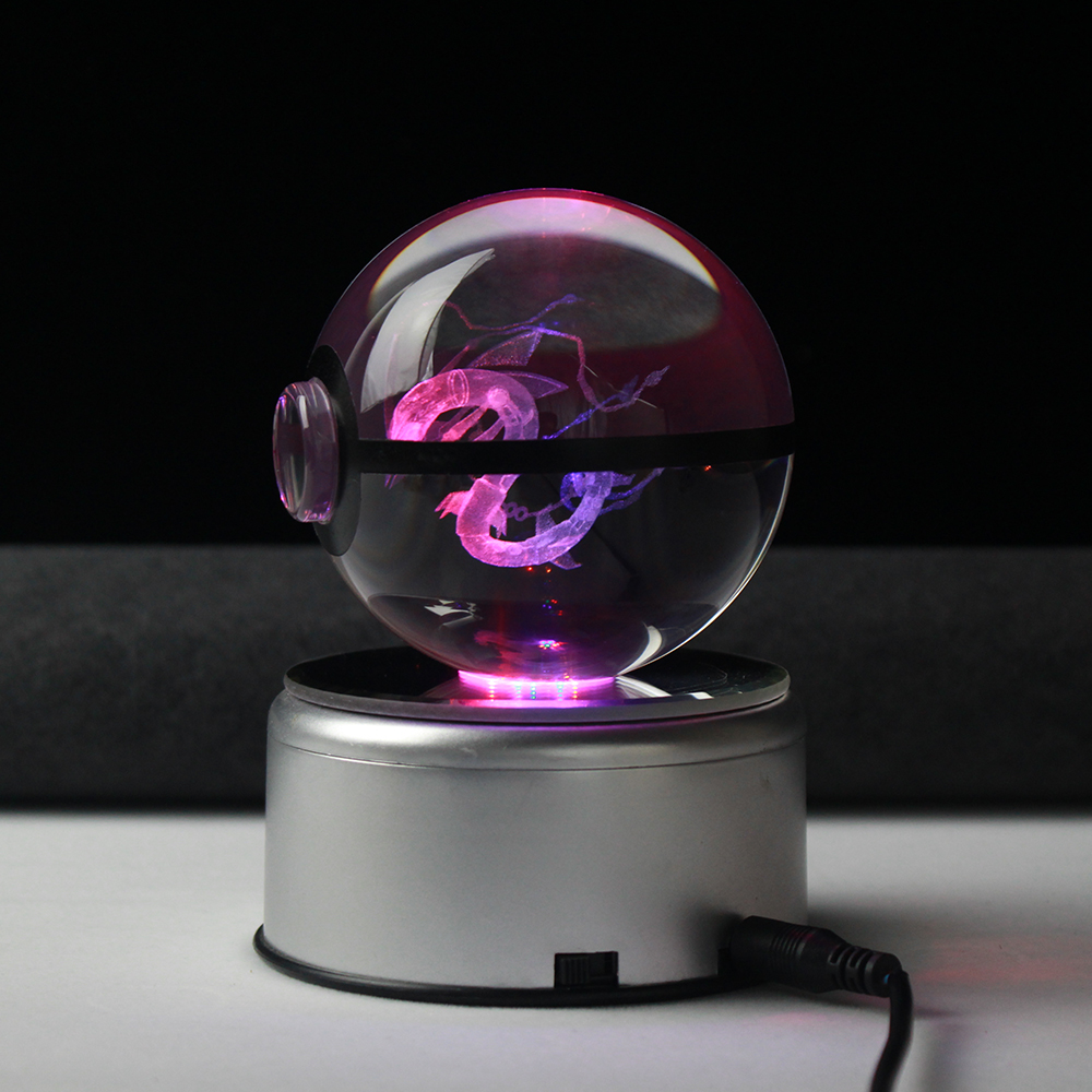 LED Night Light 3D Pokemon Mega Rayquaza Cartoon Figures Table Lamp Pokeball Paperweight Crystal Gifts Birthday