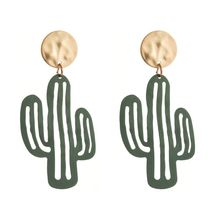цена на Lovely Desert Green Plant Cactus Drop Earrings Jewelry For Women Fashion Jewelry