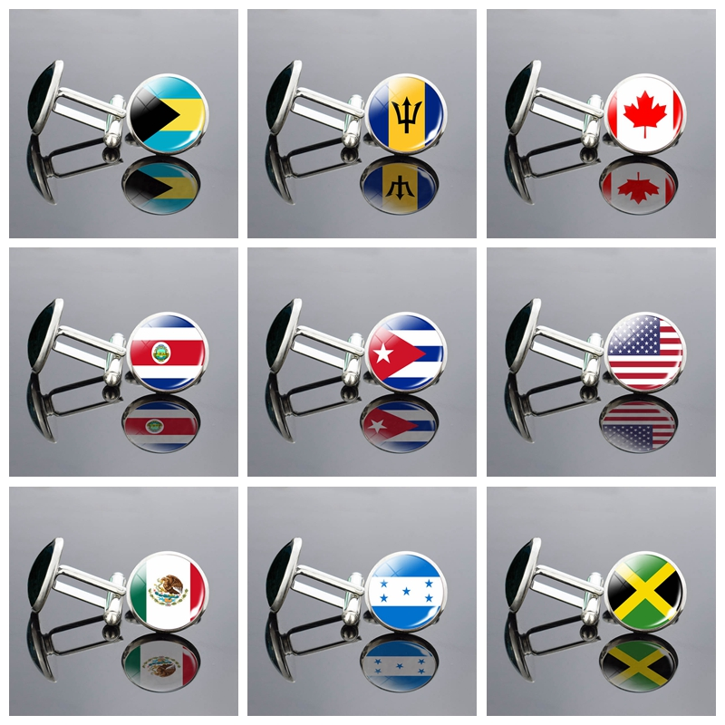Luxury Men's Cuff Links North America Canada America Mexico Flag Glass Cabochon Cufflinks National Flag Crystal Wedding Jewelry