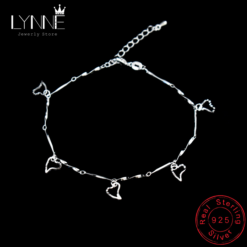 New Fashion Heart Pendant Anklet Foot Chain Ladies 925 Sterling Silver Beach Anklets Bracelet For Women Pulseras Jewelry Gift