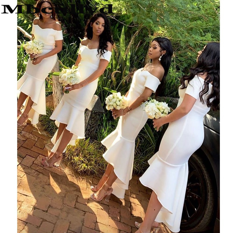 Mbcullyd White Mermaid Bridesmaid Dresses 2020 Sexy Hi Low African Wedding Guest Dress Short Sleeves Robe Demoiselle D Honneur Aliexpress,Wedding Reception Indian Maxi Dresses For Weddings