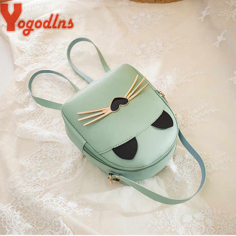 Yogodlns 2020 Thời Trang Nữ Da PU Nhỏ Túi Đeo Vai Cô Gái Học Túi Dành Cho Thiếu Niên Bé Gái Nữ Preppy Hoạt Hình Mèo Blosa