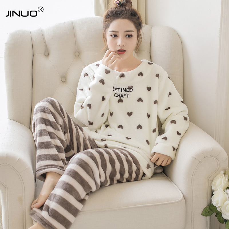 JINUO Autumn Winter Women Pajama Sets Flannel Cartoon Warm Pyjamas Women Homewear Animal Sleepwear Cute Female Pajama
