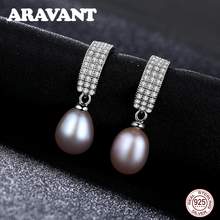 925 Sterling Silver Stud Earrings For Women AAA Cubic Zirconia Pearl Jewelry Gifts