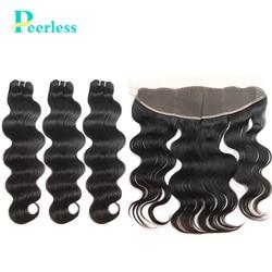 PEERLESS-mèches brésiliennes naturelles Body Wave, couleur naturelle, 13x4, Swiss Lace, Extensions de cheveux naturels crus