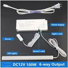 Led fonte de alimentação 220v a 12v led driver ultra fino transformador 100w 6 portas AC170-240V adaptador para luzes led de armário de cozinha