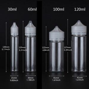 Image 2 - Recipientes claros do animal de estimação do óleo líquido do suco do plástico vazio das garrafas do conta gotas transparente de 50 pces x 10ml 120ml com conta gotas dos tampões de crc