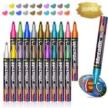 20 pcs/set Metallic Marker Birthday Gift Card Making Metallic Color Pen for DIY Photo Album Adult Kid School Supplies