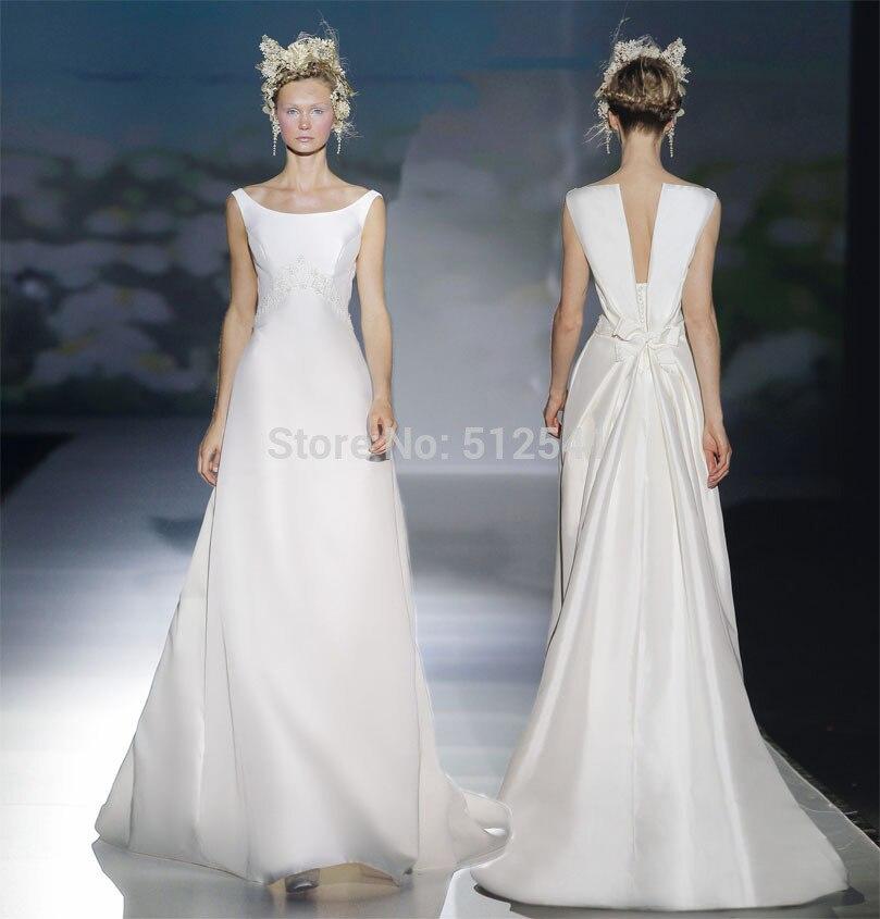 Fashionable Scoop Neck A Line Vestido De Noiva Robe De Mariee Wedding Dresses 2018 Beads Pearls Floor Length Satin Bridal Gowns