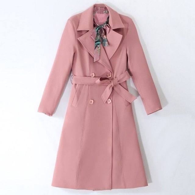 Spring Autumn Trench Coat Slim OL Ladies Trench Coat Women Dress Women Windbreakers Plus Size Two Pieces Women Sets Trench Coats 4