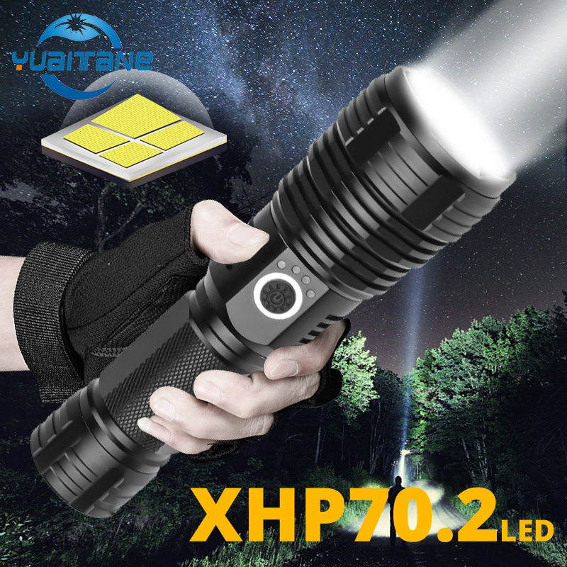 Quad-core XHP70.2 LED Flashlight Waterproof Tactical LED Torch 5-speed Zoom With Battery Indicator Use 18650 Or26650 For Camping