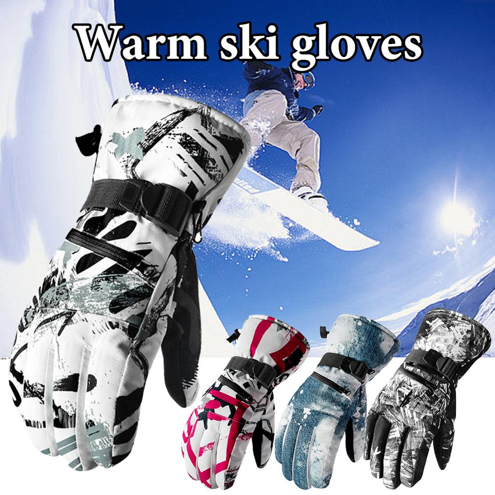 Winter Ski Gloves Men And Women Warm And Waterproof Outdoor Climbing Touch Screen Plus Velvet Touch Screen Long Sleeve Gloves