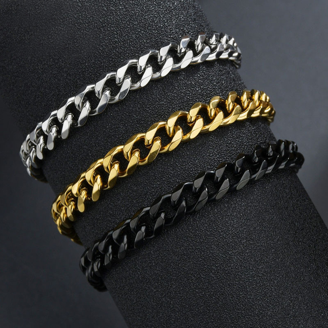 High Quality Stainless Steel Bracelets For Men Blank Color Punk Curb Cuban Link Chain Bracelets On the Hand Jewelry Gifts trend 1