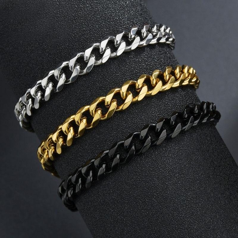 Браслеты из нержавеющей стали высокого качества для мужчин, ювелирные изделия в стиле панк панцирного кубинского плетения без рисунка, цеп...