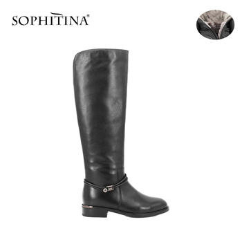 SOPHITINA Brand Elegant Women Boots Solid Cow leather Knee-high Winter Boots keep Warm Wool Fur Thick Heel Round Toe Shoes B31 haraval handmade winter woman long boots luxury flock round toe soft heel shoes elegant casual warm retro buckle solid boots 289
