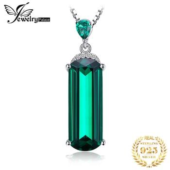 Jpalace Simulated Nano Emerald Pendant Necklace 925 Sterling Silver Gemstones Choker Statement Women No Chain