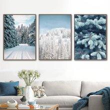 Зима природа снег постер дом лес Мороз в скандинавском стиле