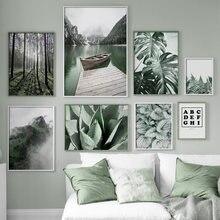 Cuadro sobre lienzo para pared, carteles nórdicos e impresiones de imágenes de pared para decoración para sala de estar, planta verde, bosque Monstera, Lago y montaña