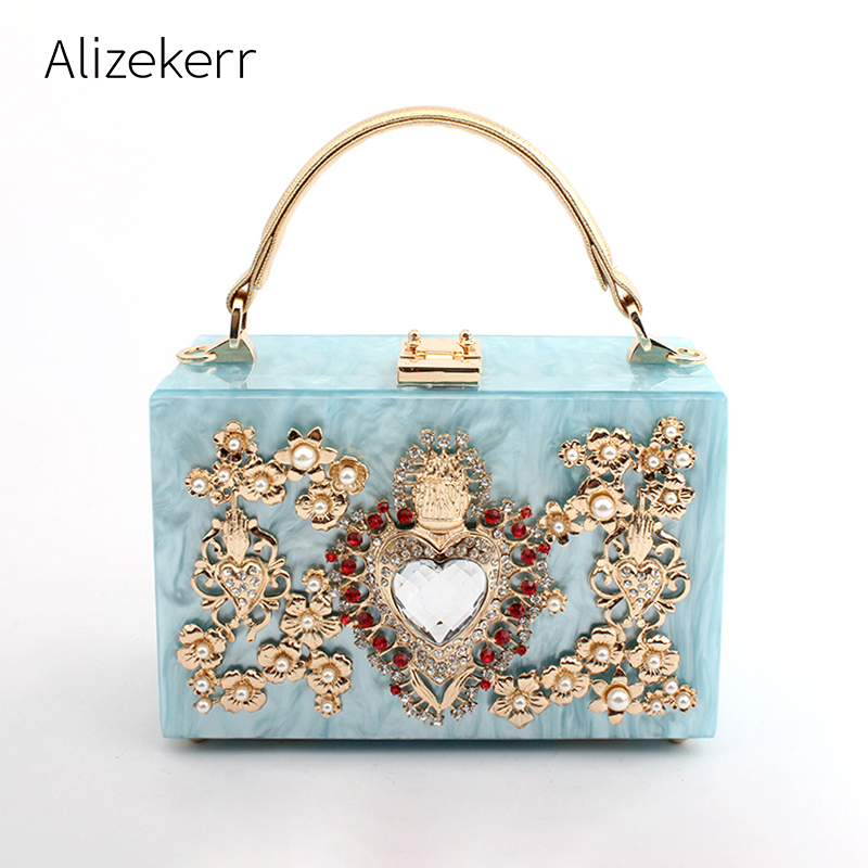 Luxury Acrylic Box Evening Clutch Bags Women Pearl Diamonds Heart-shaped Stone Pattern Purses Handbag Ladies Shoulder Bag Dinner
