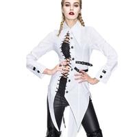 Devil Fashion Women Gothic Steampunk Sexy Blouse Lace Up Button Down Shirts Long Hem Personality Party Shirts