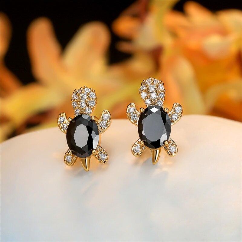 Vintage Black Zircon Oval Stone Cute Turtle Earrings For Women Wedding Jewelry Gold/Black/Rose Gold/Silver Color Stud Earrings