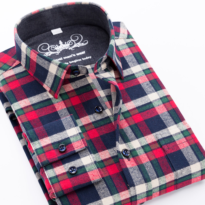 High Quality Mens Shirt New 2019 Flannel Plaid Men's Shirt Long Sleeve 100%Checkered Cotton Loose Plus Big Size 6XL 5XLMale Tops