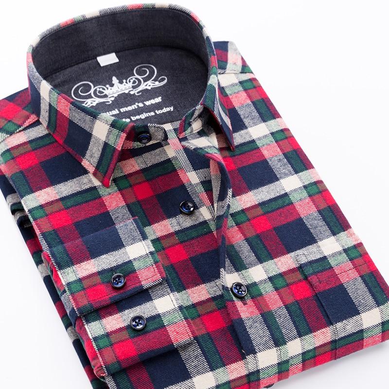 High Quality Mens Shirt New 2019 Flannel Plaid Men's Shirt Long Sleeve 100%Checkered Cotton Loose Plus Big Size 6XL 5XLMale Tops
