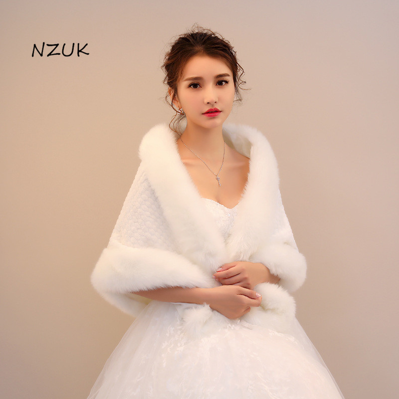 Women Shawl Wrap Prom Winter Wedding Thicken Plush Off Shoulder Bridal Evening Party Formal Large White Shrug Cape PJ067