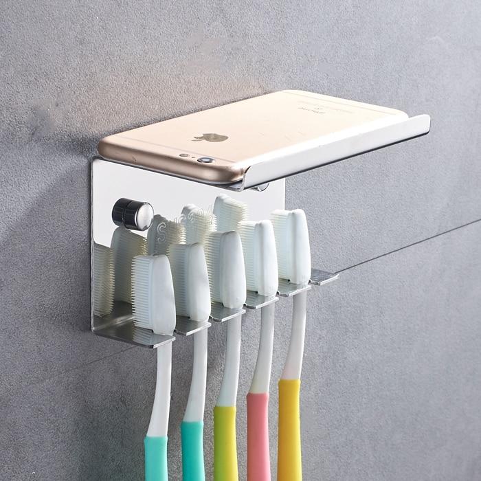 Stainless Steel 5 Slots Toothbrush Holder Toilet Supplies Wall Mount Household or Self Adhesive Storage Rack Hotel