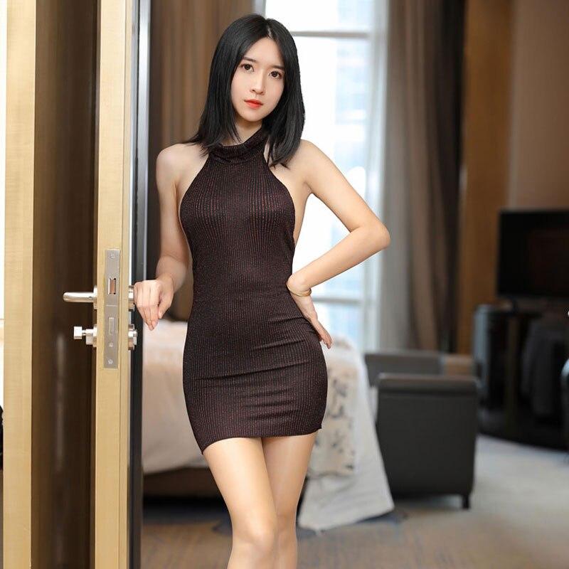 Sexy Stripe Shiny Turtleneck Backless MINI Dress Low Cut Tight Pencil Cute Dress Straight Micro Mini Dress Night Club Sexy Wear 7