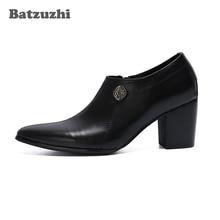 Batzuzhi 7,5 CM Hohe Ferse Schwarz Echtes Leder Stiefeletten Männer Spitz Männer Stiefel Party und Hochzeit Schuhe Zapatos hombre