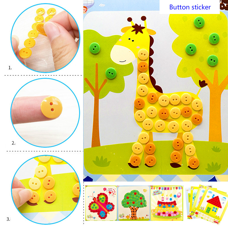 Kids DIY Button Stickers Drawing Toys Funny Game Handmade School Art Class Painting Drawing Craft Kit Children Early Educational(China)