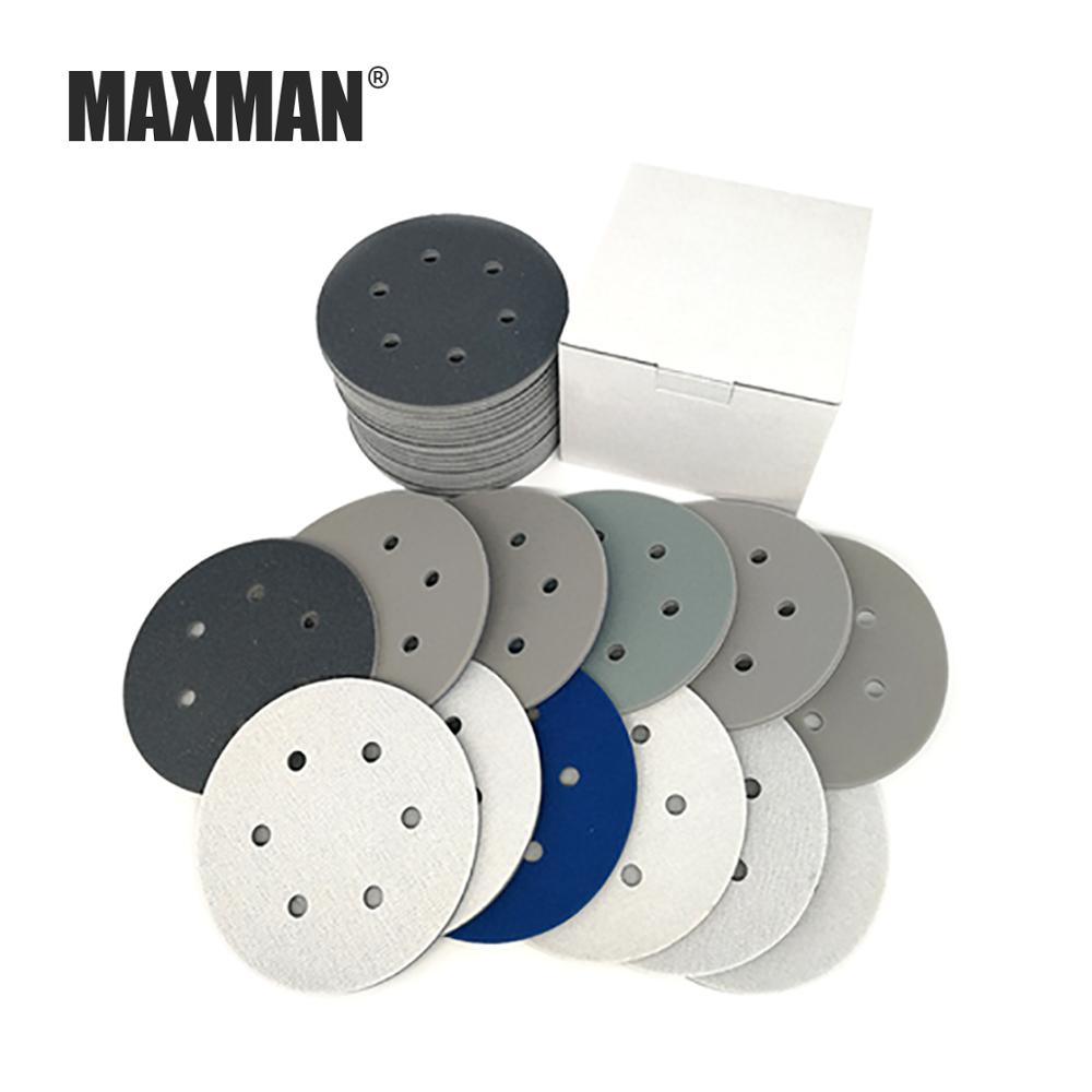 MAXMAN 2Pcs 5Inch/6Inch 6 Hole Sponge Disc Wet/Dry Sandpaper Brushed Flocking Mobile Phone Aluminum Alloy Plastic Parts Polished