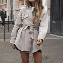 ZXQJ Vintage mujeres tamaño de lana chaquetas Camel 2020 otoño moda señoras fajas de abrigos chicas elegantes Chic Ropa