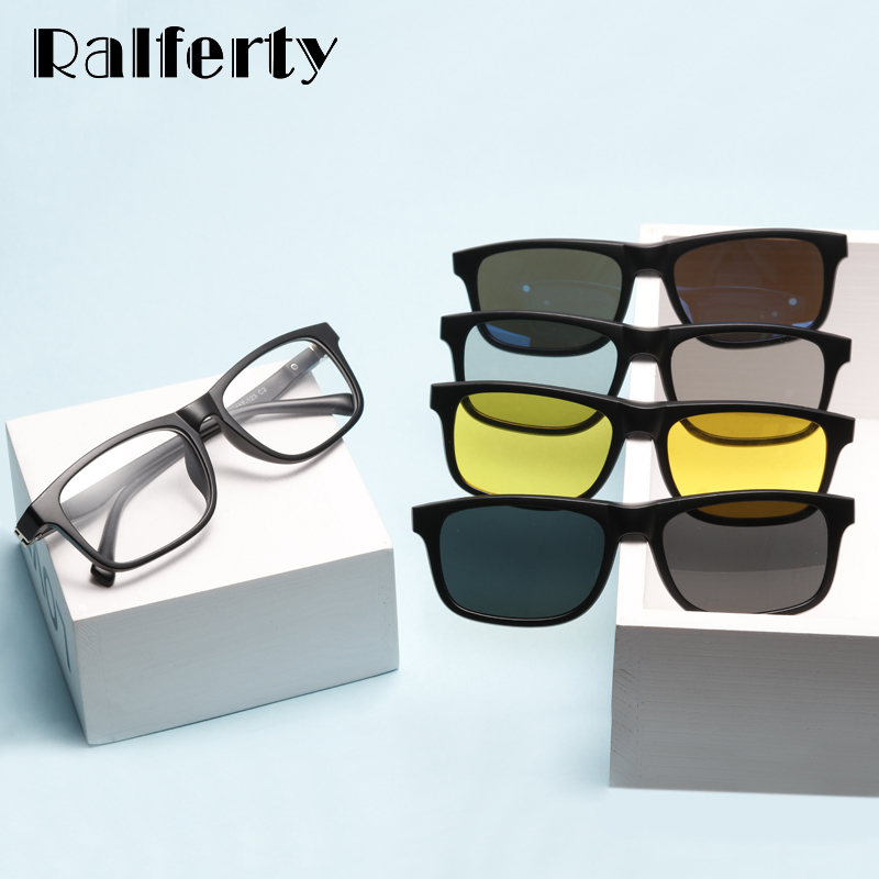 Ralferty Student <font><b>5</b></font> <font><b>In</b></font> <font><b>1</b></font> Magnetic <font><b>Sunglass</b></font> Kids Child Clip On Glasses TR90 Optic Prescription Glasses Frames 3D Spectacle TR8006 image