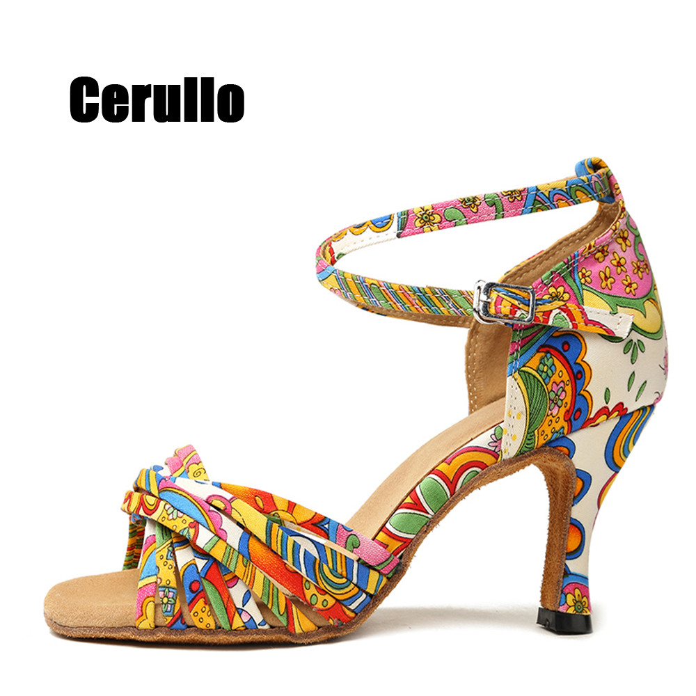 Latin Dance Shoes For Women Colorful Ballroom Tango Dancing Shoes For Indoor & Outdoor Soft Sole Female Salsa Sandal 6/7.5cmA272