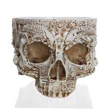 Fashion-Drop Shipping Creative Flowerpot Hand Carved Skull Flower Pot Bowl Home Garden Halloween Decoration(China)