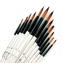 12Pcs Tip / Flat Paint Brushes Set Artist Acrylic Oil Watercolor Painting Craft Art Kit