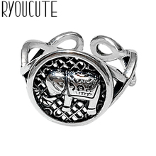 Wholesale Real Silver Color Elephant Rings For Women Big Antique Rings Finger Jewelry
