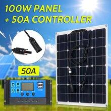 100 Вт 18 в монокристаллическая солнечная панель модуль комплект IP65 Водонепроницаемый 20/30/40/50A Солнечный контроллер заряда ШИМ Интеллектуальный Регулятор
