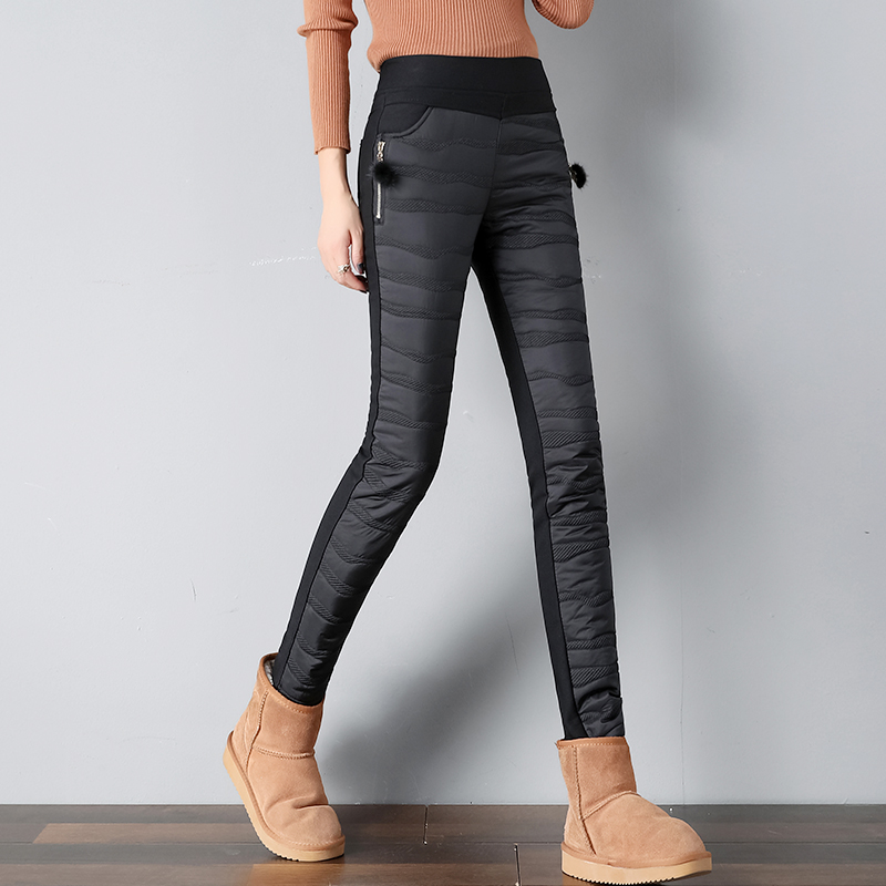 New Women's Pants Elastic Waist Long Trousers Winter Down Pants Lady Plus Size 4XL Outdoor Pants Female Warm Thick Pencil Pants