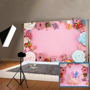 Image 2 - Yeele Suikerspin Bar Lolly Donuts Roze Verjaardag Fotografie Achtergronden Aangepaste Fotografische Achtergronden Voor Foto Studio