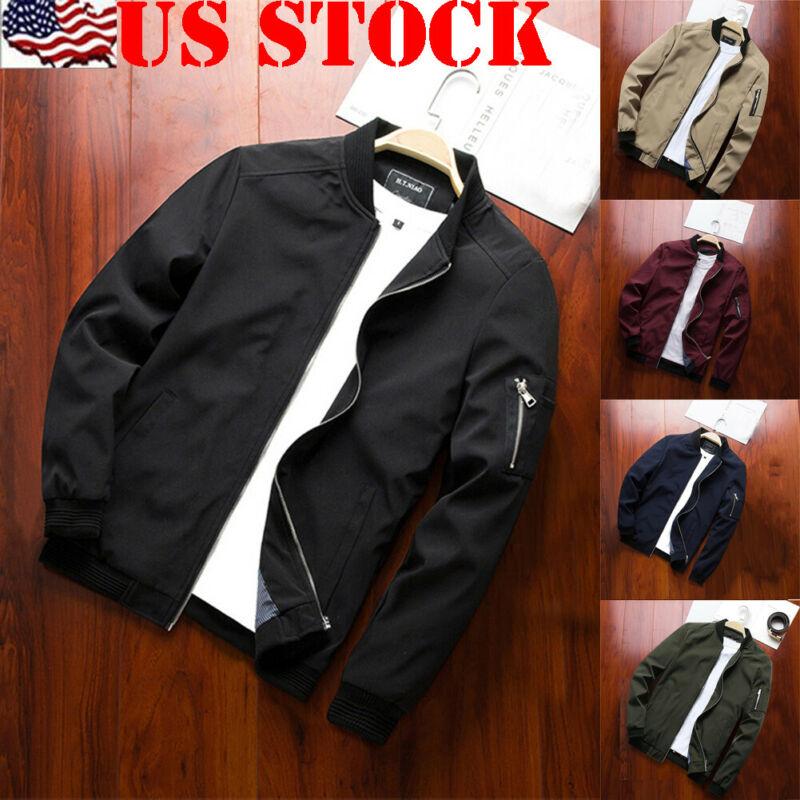 New Winter Men Casual Jacket Fashion Warm Baseball Coat Zippers Slim Outwear Overcoat Blouse