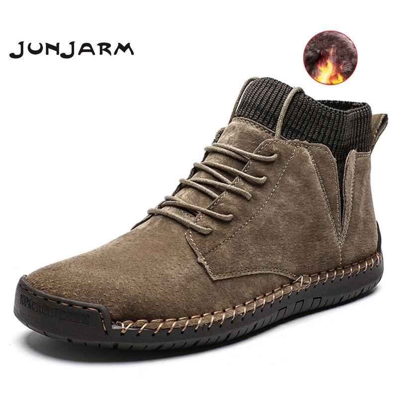 JUNJARM Brand Men Snow Boots Winter Plush Warm Men Motorcycle Boots Lace-up Non-slip Male Ankle Boots Waterproof Autumn Man Shoe