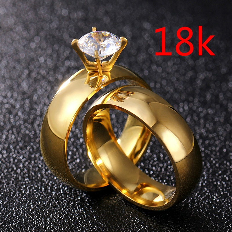 Titanium Steel Large Zircon Couple Ring Men and Women Promise Gold Ring Valentine's Day Gift Wedding Engagement Ring