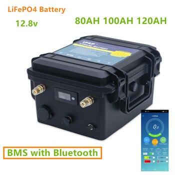 12V 80AH 100AH 120AH LiFePO4 con Bluetooth BMS 12v lifepo4 Paquete de batería 80ah 100ah 120ah de litio 12v con cargador de 10A incluido 1