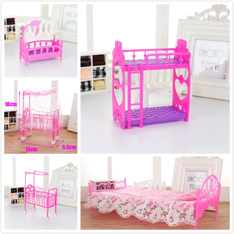 Baby Mini Bunk Bed Toys Baby Doll Furniture Accessories Cute Doll Furniture Plastic Bunk Bed Play House Kids Fun Over Home Toys