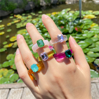 IF ME Colorful Transparent Resin Acrylic Crystal Rhinestone Simple Geometric Square Round Rings Set for Women Trendy Jewelry