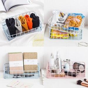 Image 5 - Nordic Rose Gold Metal Wire Storage Basket Office Desktop Sundries Makeup Brushes Holder Table Cosmetics Organizer Iron Basket